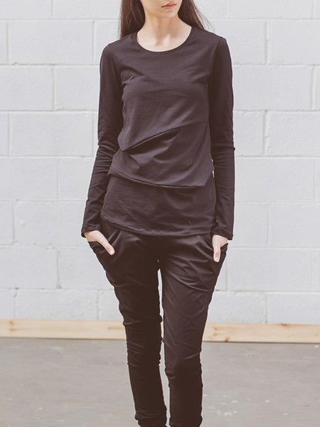 Black Paneled Casual Crew Neck T-Shirt