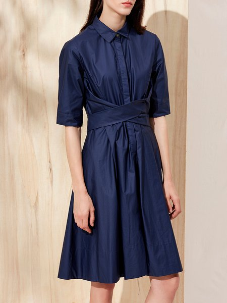 Folds Pockets Solid Half Sleeve A-line Midi Dress