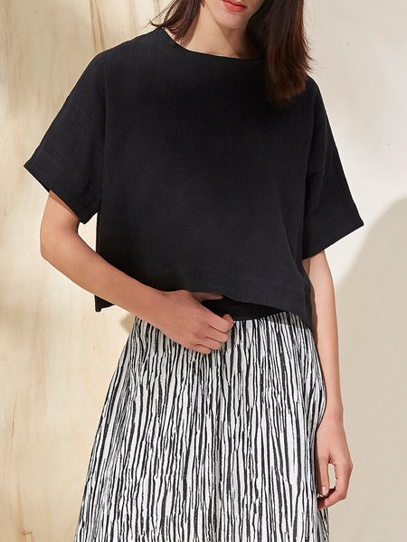 Zipper Cotton Casual Short Sleeve Solid Cropped Top