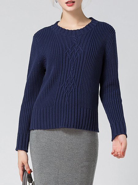 Navy Blue H-line Long Sleeve Ribbed Sweater