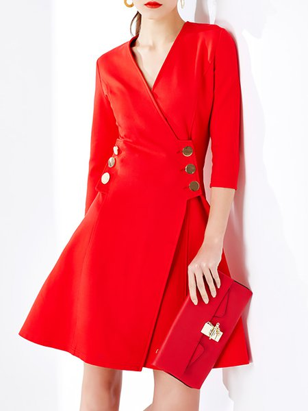 Red Buttoned 3/4 Sleeve Mini Dress