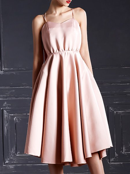 Pink Spaghetti Polyester Midi Dress