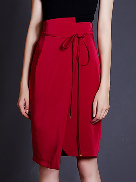 Red Bodycon Asymmetric Polyester Midi Skirt
