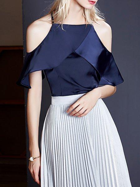 Polyester Frill Sleeve Elegant Plain Blouse