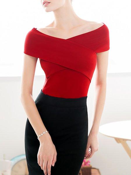 Elegant V Neck Short Sleeve Plain Cropped Top