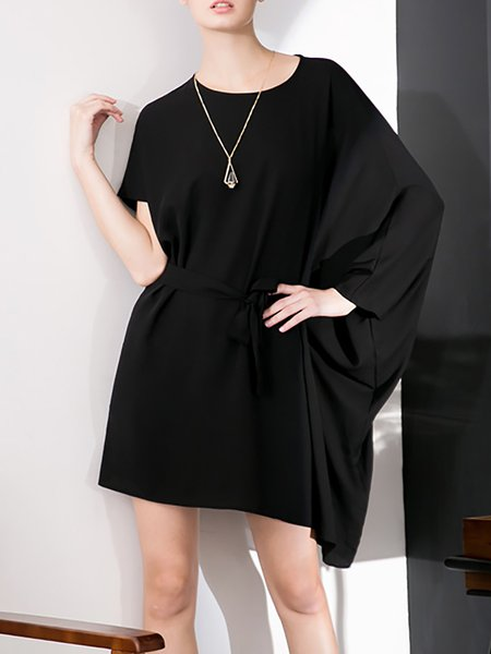 Cocoon Casual Crew Neck Plain Batwing Mini Dress