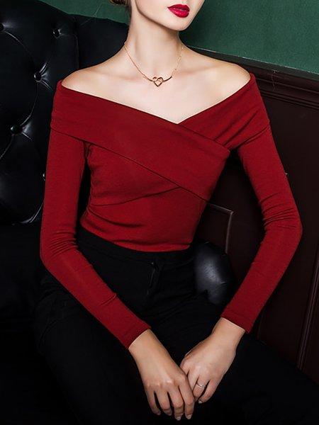 Burgundy Plain Long Sleeve Long Sleeved Top