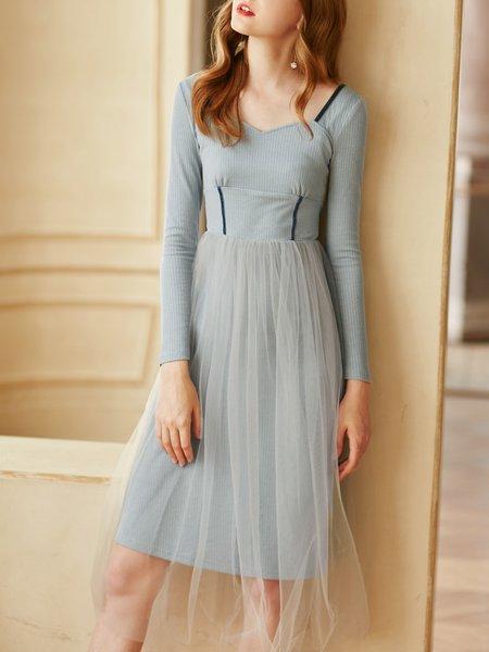 Sweetheart A-line Long Sleeve Paneled Midi Dress