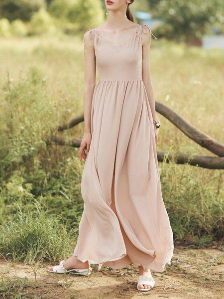 Khaki Casual  Solid A-line Maxi Dress