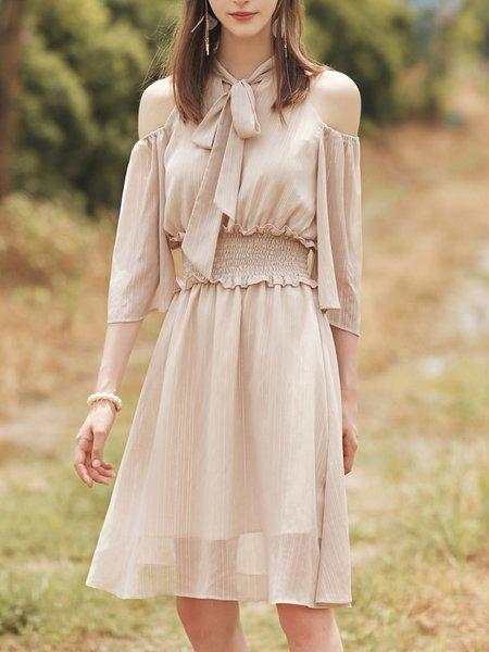 Apricot Half Sleeve Cold Shoulder Midi Dress