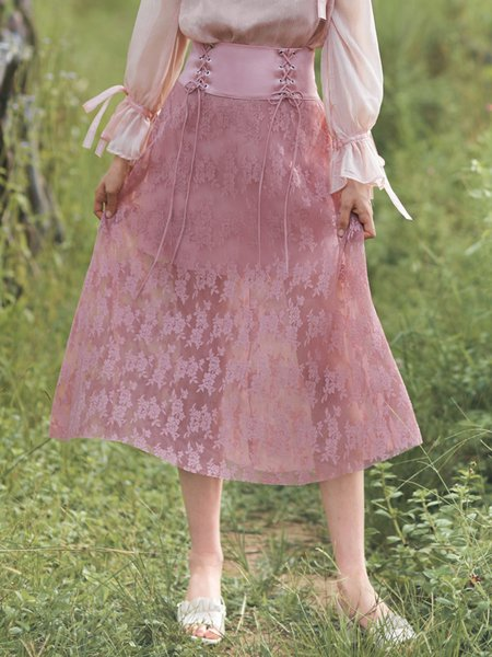 Pink Lace Up Girly A-line Midi Skirt