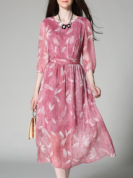 Pink Printed Swing Casual Midi Dress