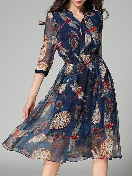 Blue Chiffon Printed A-line 3/4 Sleeve Stand Collar Midi Dress