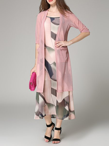 Pink Chiffon Floral 3/4 Sleeve Two Piece Maxi Dress