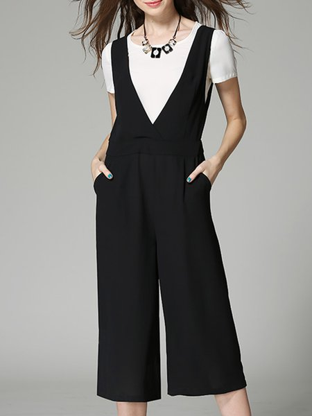 Short Sleeve Polyester Simple Two Piece Pockets Jumpsuit