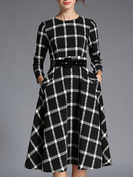Elegant Checkered/Plaid 3/4 Sleeve Pockets Midi Dress With Belt