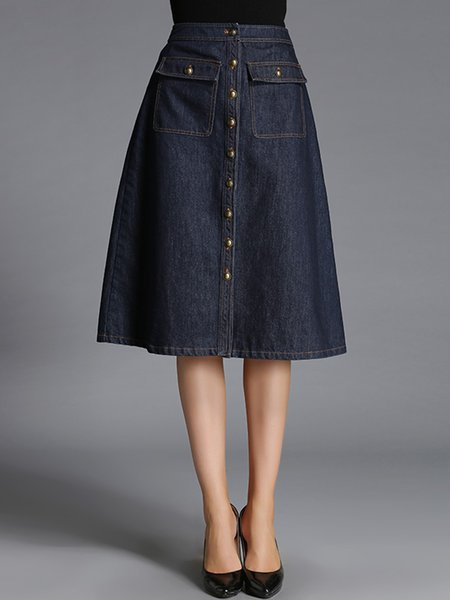 Blue Washed Pockets A-line Simple Midi Skirt