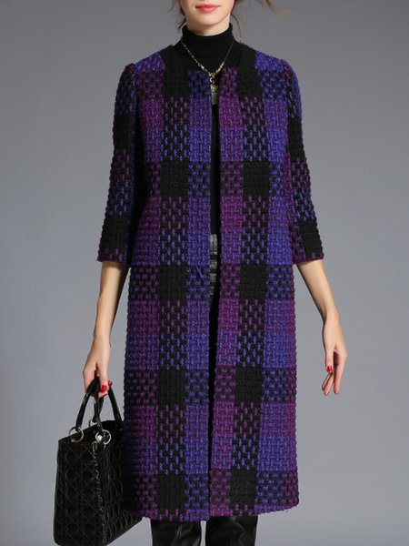 Simple 3/4 Sleeve H-line Crew Neck Checkered/Plaid Coat