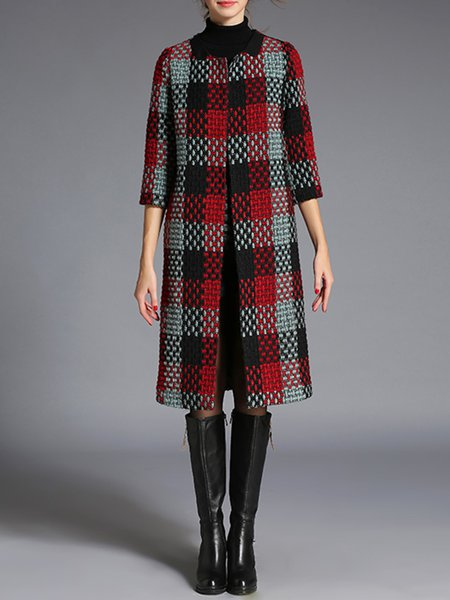 Red Polyester Checkered/Plaid H-line Simple Coat