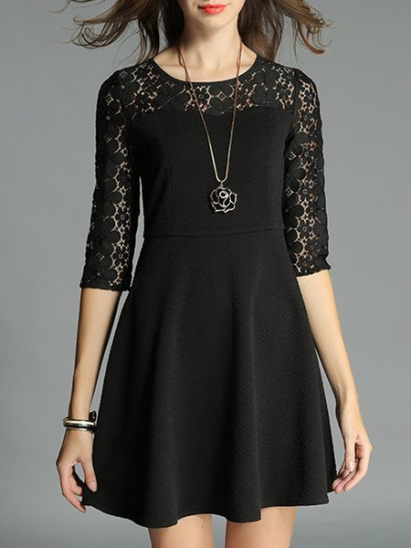 Black A-line Floral Pierced Folds Girly Mini Dress