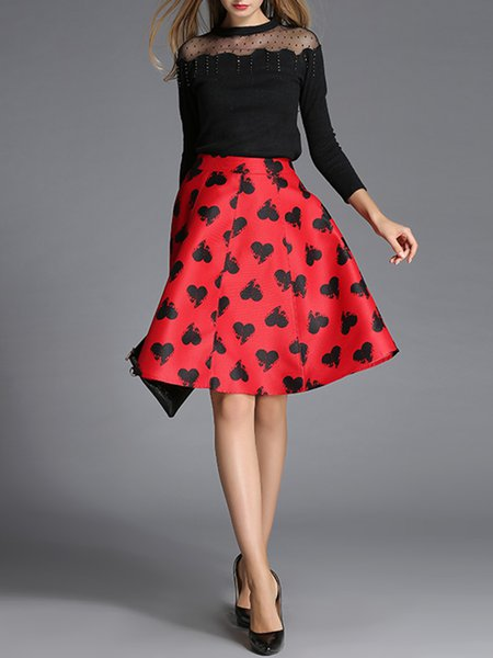 Red Swing Printed Graphic Simple Midi Skirt