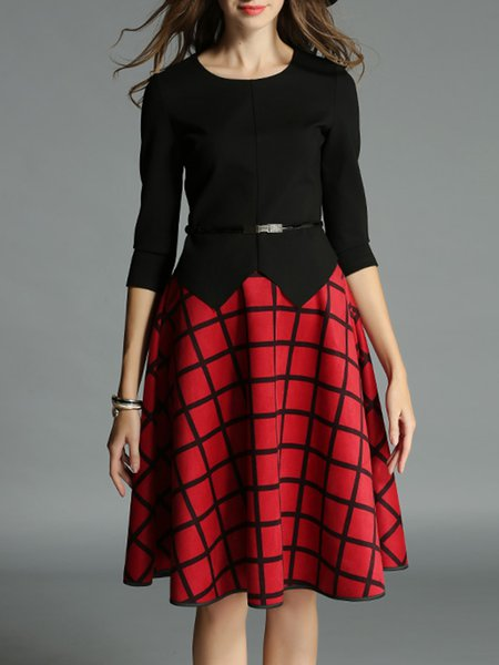 Two Piece 3/4 Sleeve Checkered/Plaid Girly Midi Skirt With Belt