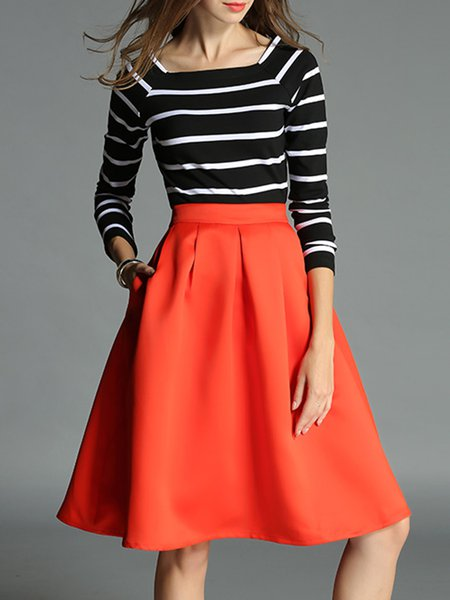 Two Piece Bateau/boat Neck 3/4 Sleeve Simple Stripes Midi Skirt