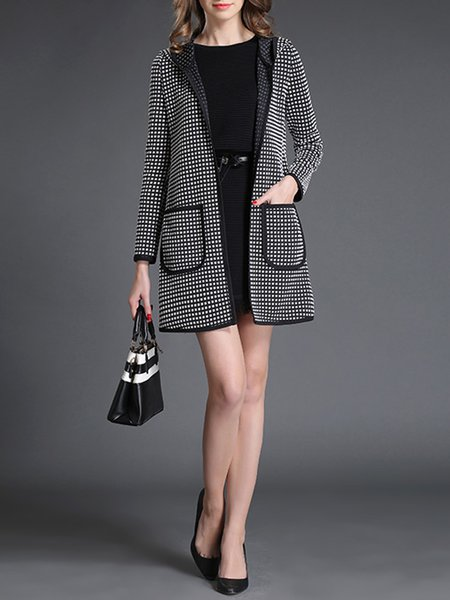 Black Checkered/Plaid Hoodie Pockets Coat