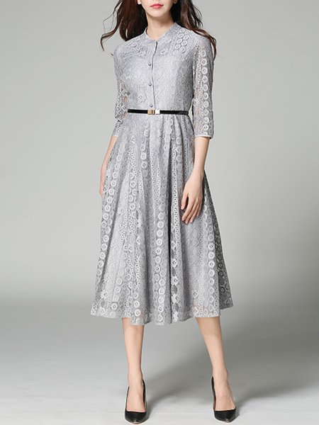 Pierced Polyester Stand Collar Elegant 3/4 Sleeve Midi Dress With Belt