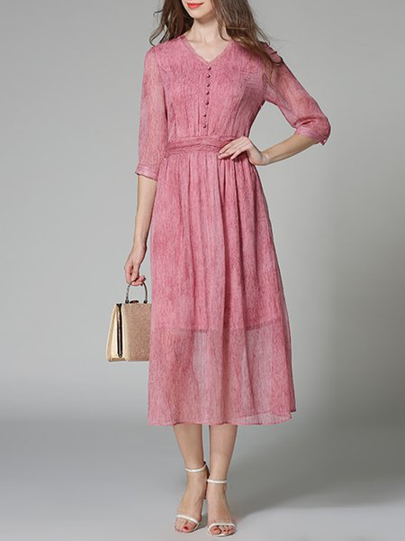 V Neck Half Sleeve Chiffon Girly A-line Folds Midi Dress