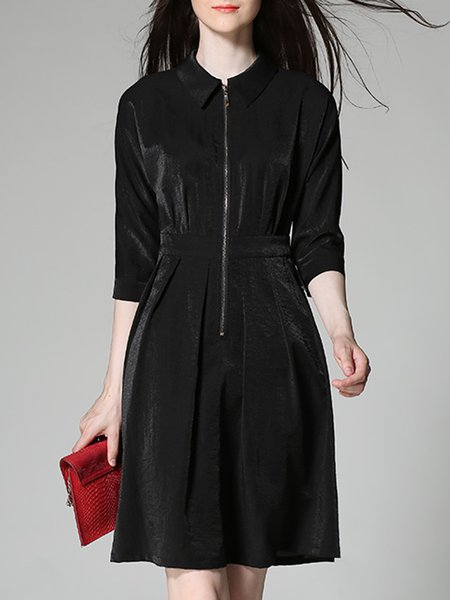 Black Plain Zipper Peter Pan Collar 3/4 Sleeve Midi Dress