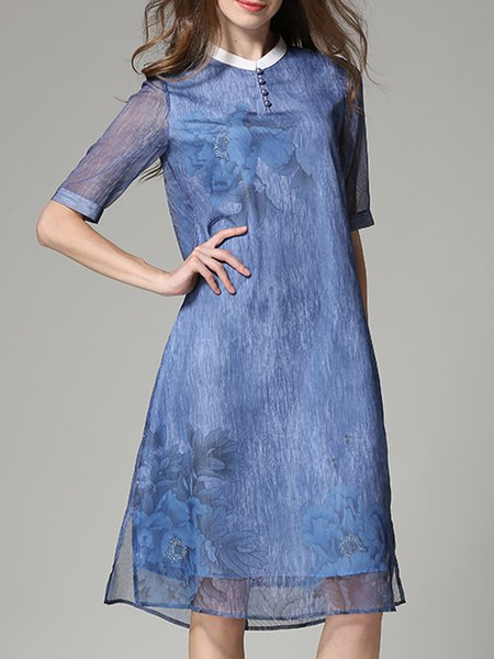 Blue Printed Floral Simple Half Sleeve Midi Dress