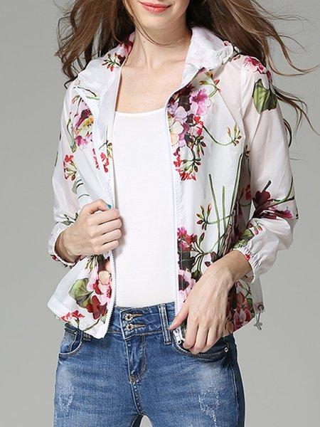 Casual Floral 3/4 Sleeve Hoodie Cropped Jacket