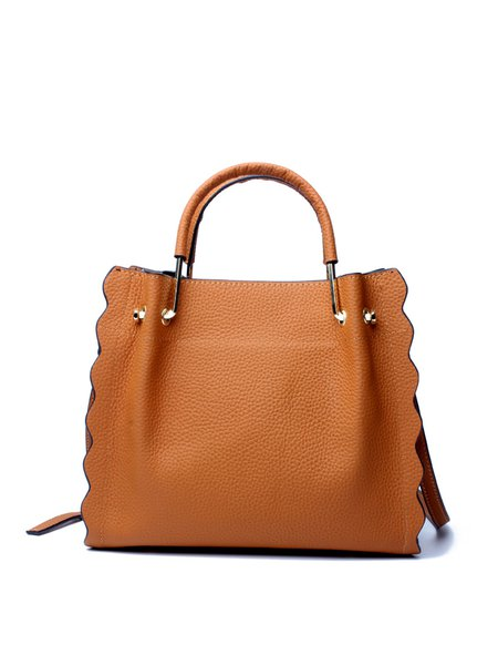 Casual Leather Zipper Tote