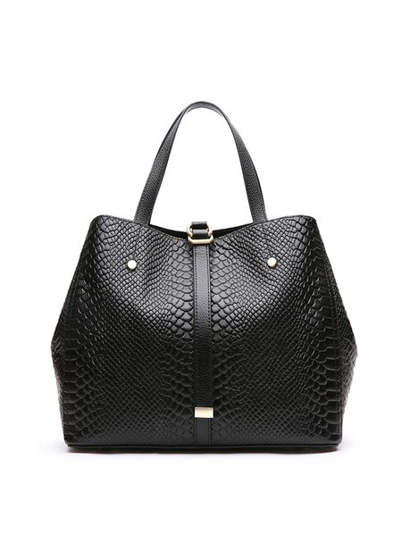 Leather Simple Zipper Tote