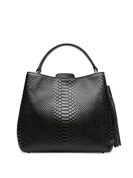 Simple Leather Zipper Tote
