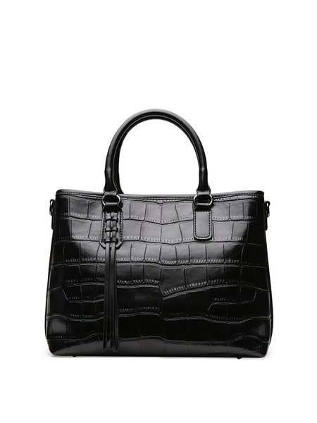 Leather Zipper Simple Tote