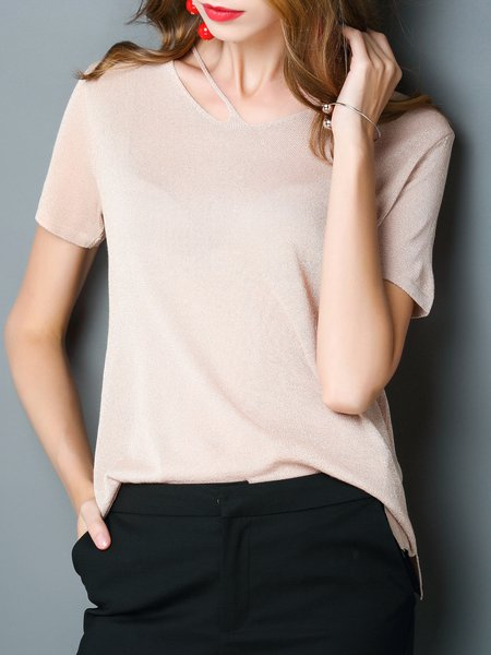 Short Sleeve Solid Casual Crew Neck Top