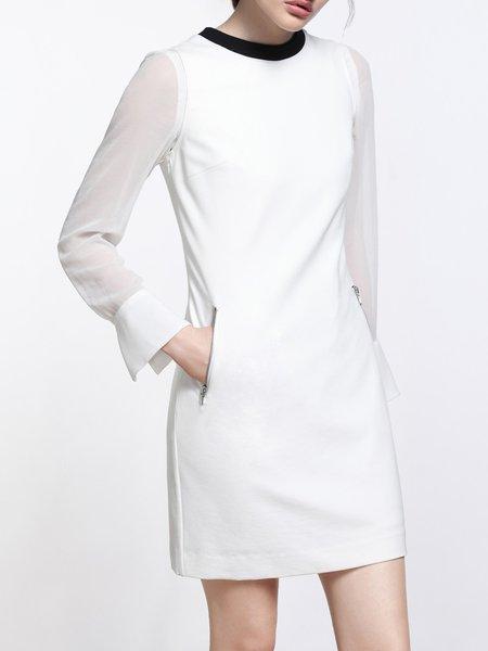 White Zipper Sleeveless Crew Neck Mini Dress