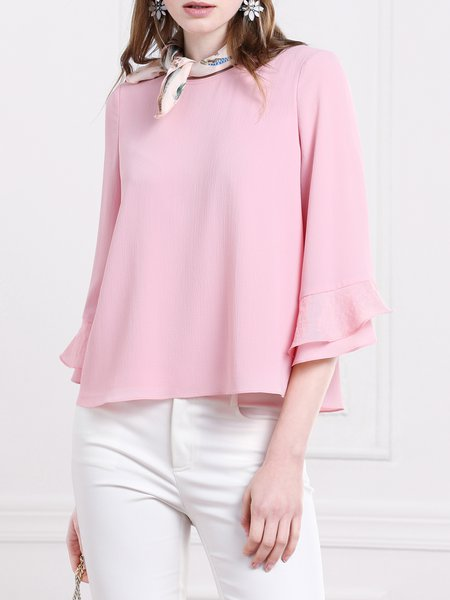 Frill Sleeve Crew Neck Simple Blouse