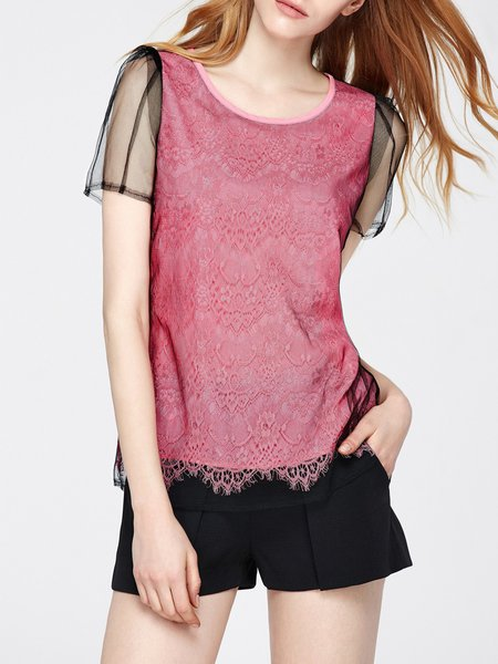 Shorts Sleeve Guipure Lace Paneled Casual T-Shirt
