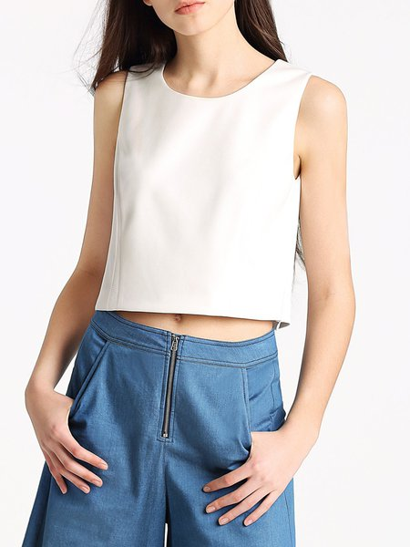 Casual Sleeveless Crew Neck H-line Solid Cropped Top