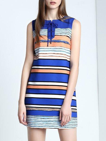 Blue Sleeveless Lace Up Stripes Mini Dress