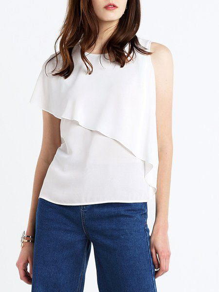 H-line Casual One Shoulder Ruffled Tops