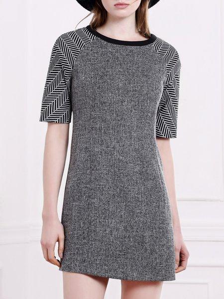 Gray Short Sleeve Geometric Paneled Mini Dress