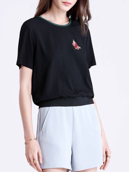 Short Sleeve Casual Floral-embroidered T-Shirt
