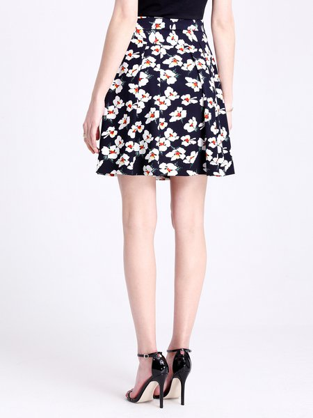 Navy Blue Casual Pleated Mini Skirt - StyleWe.com