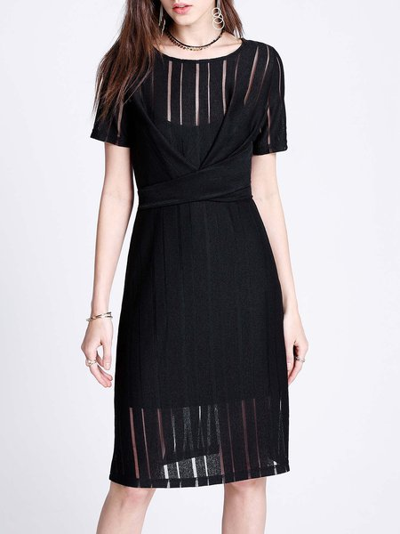 Black A-line Short Sleeve Midi Dress with Lining