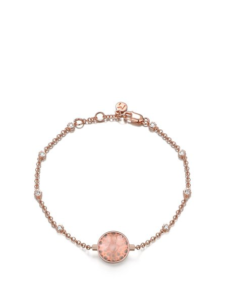 Rose Gold 925 Sterling Silver Round Cubic Zirconia Bracelet