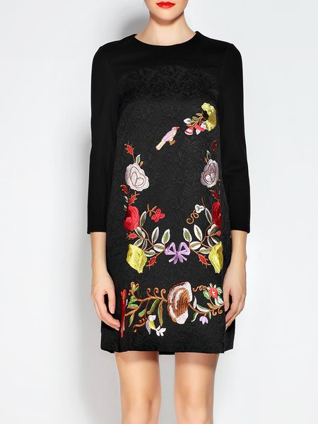 Black Crew Neck 3/4 Sleeve Floral-embroidered Mini Dress